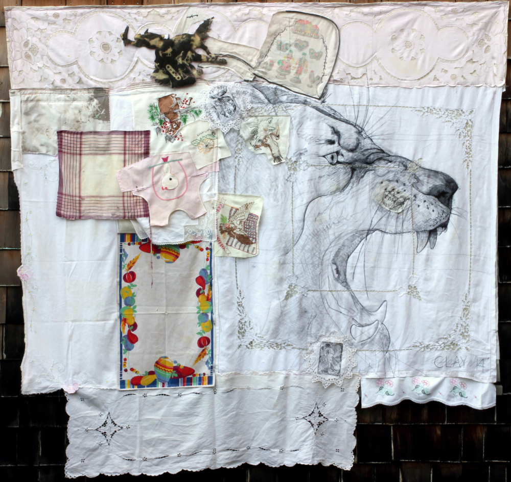 Ear of the Horse. 2014. Ink, pencil, embroidery, and safety pins on cloth, quilted with assorted batting. 78 x 80""